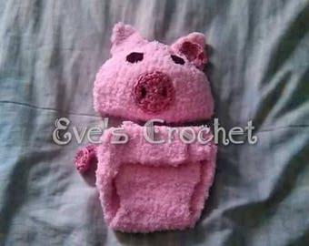 Baby crochet pig costume