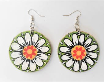 Hand Painted Wooden Earring, Wooden Disc Earrings,Decoupage Earrings, Dangle Earring, Art Earrings, Colorful Earrings, Summer Earrings
