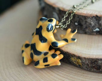 Hand Painted Porcelain Panamanian Golden Frog Necklace, Antique Bronze Chain, Vintage Style, Ceramic Animal Pendant & Chain (CA133)