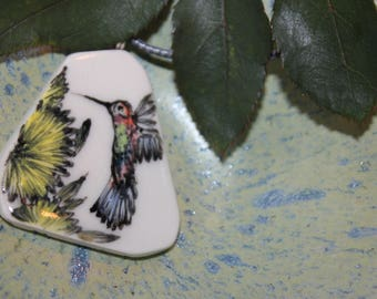 Sunflower with Humming Bird Pattern Ceramic Necklace