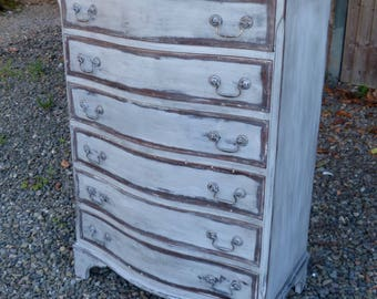 Divine Vintage Tallboy Curved Chest Drawers ANNIE SLOAN Graphite & Country Grey