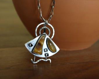OOAK,Women's sterling silver 925 pendant,Amber pendant,Handmade jewelry,Rustic pendant,Hammered silver,Raw jewelry,Amber jewelry,Pies of Art