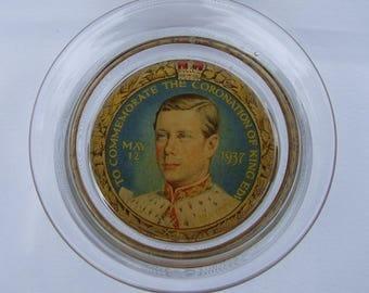 Vintage King Edward VIII Coronation Pressed Glass Pin Dish Bowl - 1936 Super Rare Reverse Decorated Royal Commemorative Ware Mrs Simpson