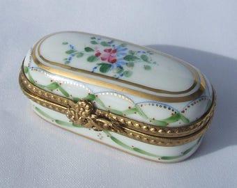 Vintage Dubarry Limoges Porcelain Pill Box - 1980's Hand Painted Enamelled Floral Design by Dubarry for Porcelaines De La Seynie Signed