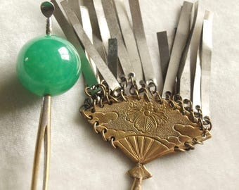 Antique Japanese Hair Pins Fan and Peking Glass Ball