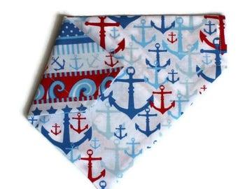 On Sale Nautical, Anchors Dog Bandana, Slip-On, Over The Collar Bandana, Reversible Bandana, Cat Bandana, Gift for Dog Lover, Gift for Dog,