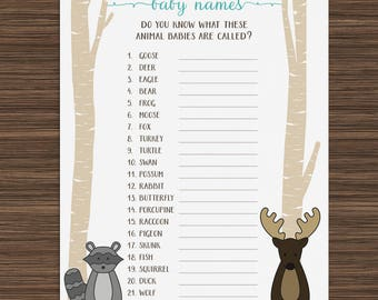 Woodland Baby Name Game