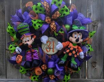 Halloween wreath, Mickey mouse Halloween wreath, Minnie mouse Halloween, mickey halloween, minnie halloween