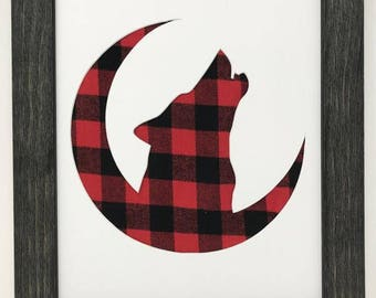 """16x20 1.75"""" Rustic Black Frame with Wolf on Moon and Buffalo Plaid"""