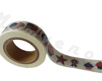 A Washi tape 10 m / washi tape (masking tape) patterns Americans 1.5 cm x 10 m