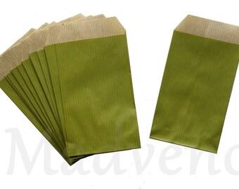 Lot de 25 mini sachets en papier couleur vert anis 7 x 11.5 cm