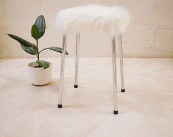 Stool wig / stool vintage faux fur / Decoration scandiave / Hygge / Lagom