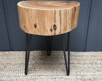 Cedar End Table with Hairpin Legs