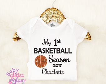 Baby Girl Basketball, My First Basketball Season, Baby Girl Basketball Outfit, Watch Basketball with Daddy, Crawl Walk Play, Baby Clothes
