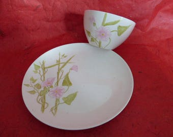 Breakfast porcelain patterns bindweed plate and bowl set