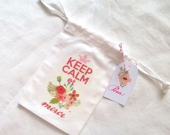 Small fabric bag Keep calm floral with tag