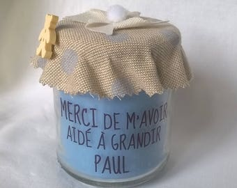 Candle to thank the linen with blue polka dots personalized nanny