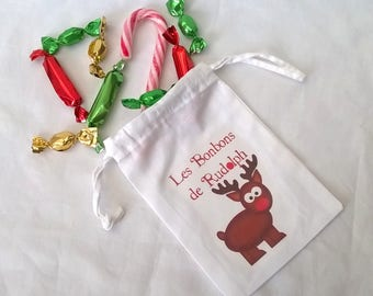 "Mini bag fabric Christmas ""candy Rudolph"""