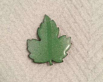 Vintage 1960s Brass and Enamel Leaf Brooch