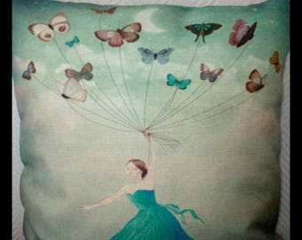Romantic - cushion the girl with butterflies