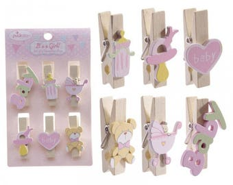 Set of 6 - clothespins theme girl wooden and resin 3.5 cm