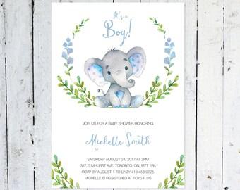 Baby Shower InvitationBoy, Elephant Baby Shower Invitation, It's A Boy, Wreath, Greenery, Blue, Grey, Printable, Printed