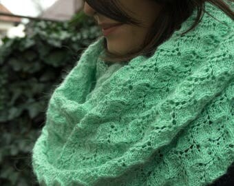 Hand Knit Turquoise Shawl, Warm Large Delicate Knit Wrap, Mohair Blend, Japanese Pattern, Extra Large Knit Shawl