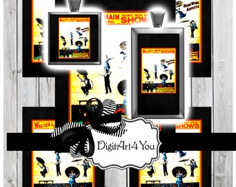 High Wire Collage Digital Download. Trapeze Circus Artists Clip Art. Circus Performers of Inchies and Dominoes.