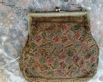 Antique Hand Embroidered Handbag Purse with Silver Frame