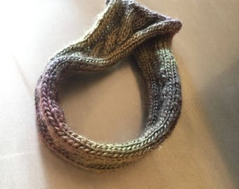 Green and purple headband earwarmer cable knit