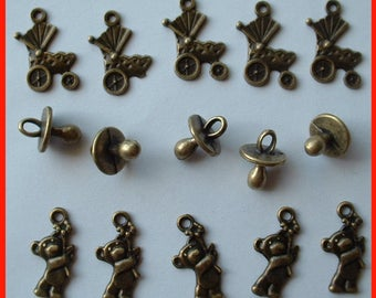 LOT 15 BRONZE BABY THEMED BEADS