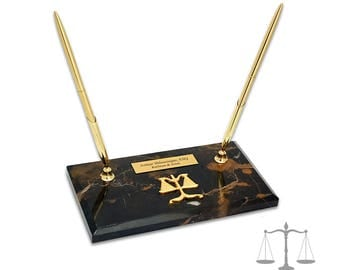 Personalized Scales of Justice Double Pen Stand - Laser Engraved Executive Pen Stand and Plaque on Marble - Gift for Legal Professionals