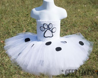 Dalmatian puppy Halloween Costume Tutu Girl Skirt Boutique Bows Clothing Baby Toddler White Black Dog Spots Outfit