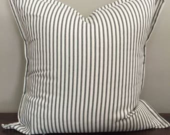 Black Ticking Stripe Pillow w/Flat Ruffle Trim, Throw Pillow Cover, Farmhouse Pillow, Decorative Pillow, Pillow Cover 18x18 or 20x20