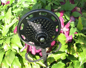 Manly steampunk garden flower or wall hanging from upcycled bike parts