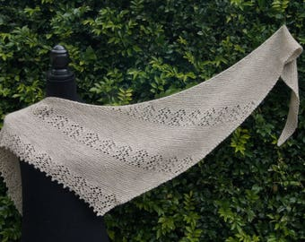 Hand knitted shawl/scarf/wrap, 100% New Zealand wool, oatmeal colour