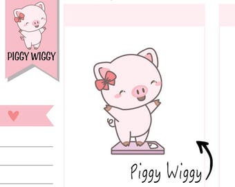 PW003 - Diet Planner Stickers,Calories Stickers,Scale Stickers,Fitness Stickers,Piggy Stickers,Piggle Stickers,Kawaii Stickers