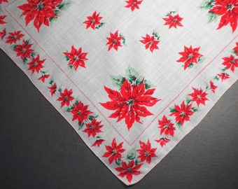 Poinsettia Christmas Vintage Handkerchief - pay it forward, PIF