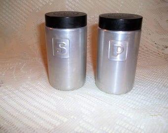 Vintage Retro Aluminum Salt and Pepper Shaker Set