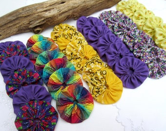 Antique yo yo quilt 30 Assorted   2 inch Fabric Miniature Yo Yos Applique Quilt Pieces Scrapbooking Embellishments