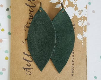 "Handmade Leather Earrings - Forest Green - 3"" x 1.25"""