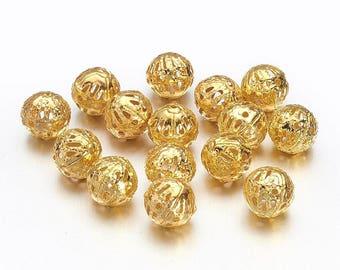 50 Gold Tone Iron Filigree Round Spacer Beads 8mm (B207c)