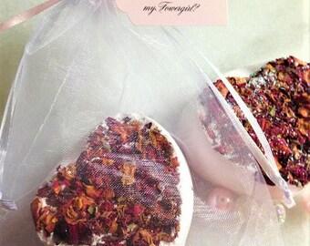 Rose Heart Bath Bomb-You're the Bomb Flower Girl Gift Proposal-Bridesmaid Favors-Blush Pink/Rose Petal Bath