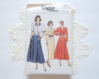 1980S Uncut Vogue 9874 Paper Sewing Pattern Misses' Petite Dress Size 8, 10, 12
