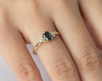 0.77CT Oval Blue Sapphire Diamond Ring, 14k Solid Gold Ring, September Birthstone Ring, Sapphire Diamond Engagement Ring, Anniversary Ring