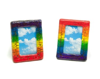 Polymer Clay Mini Rainbow Picture Frame, Rainbow Photo Frame, Small Picture Frames for Mom, Boho Photo Frame, Bohomian Picture Frame