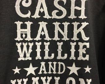 Cash, Hank, Willie & Waylon tanks.