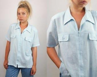 Vintage 90's Gingham Zip-up Blouse / Shirt / Summer Jacket    Size M-L