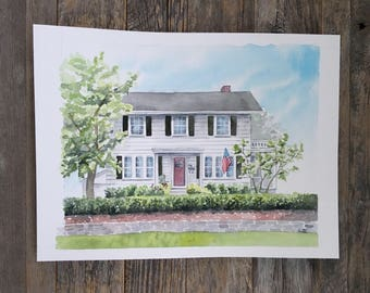 Custom house painting, housewarming gift, Watercolor house portrait, painting of home, home illustration