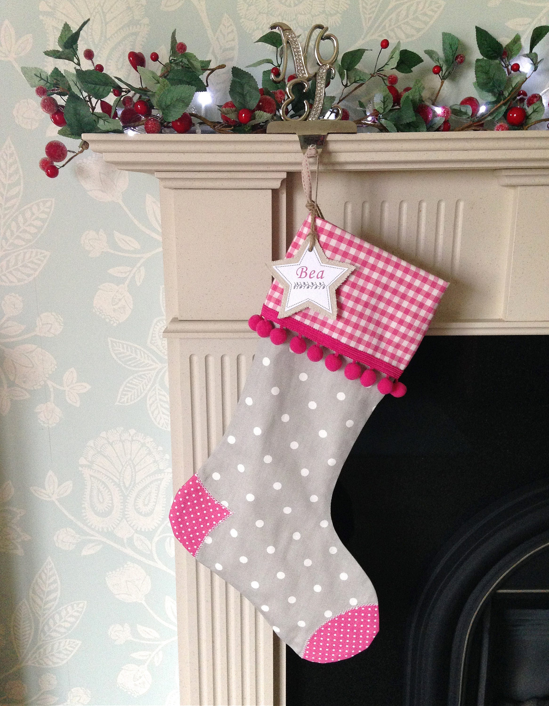 Personalised Christmas Stocking In Pink And Grey Luxury